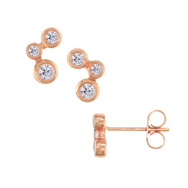 Rose gold diamond 3 stone stud earrings