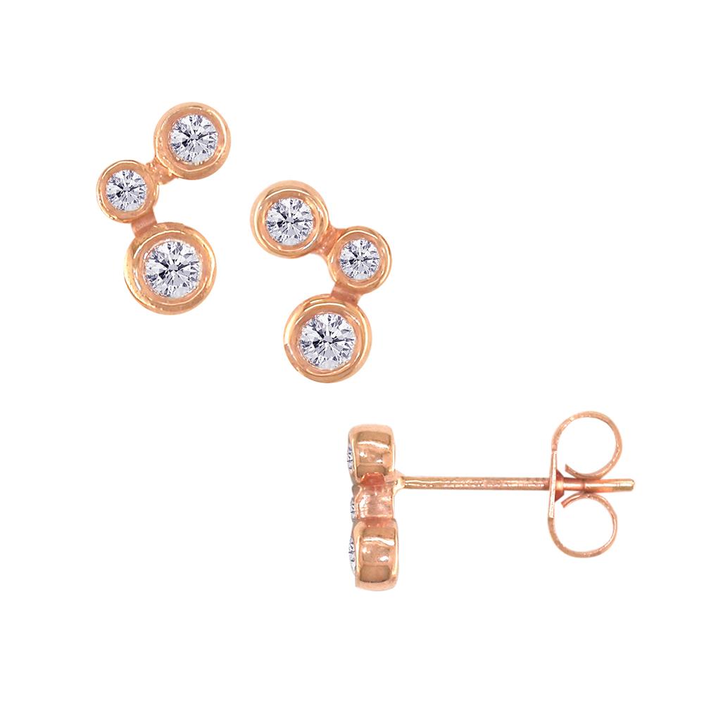Rose gold diamond 3 stone stud earrings