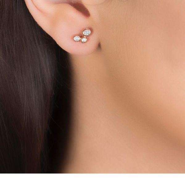 Bubble 3 Stone Rose Gold Diamond Stud Earrings