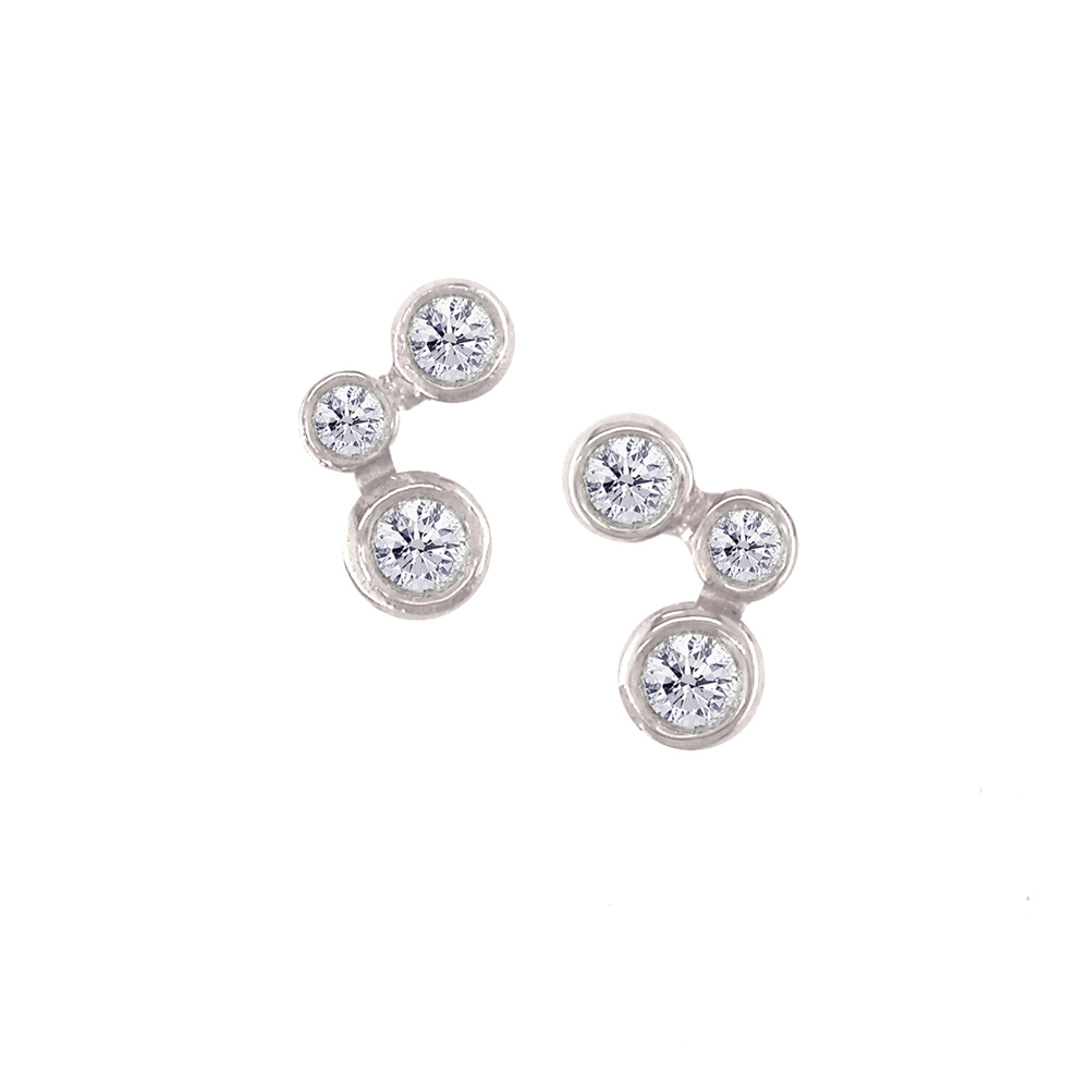 White gold diamond 3 stone stud earrings
