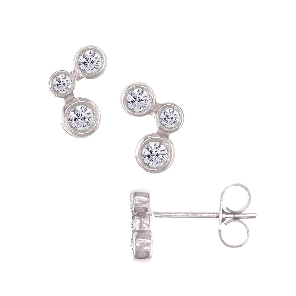 White gold diamond 3 stone stud earrings