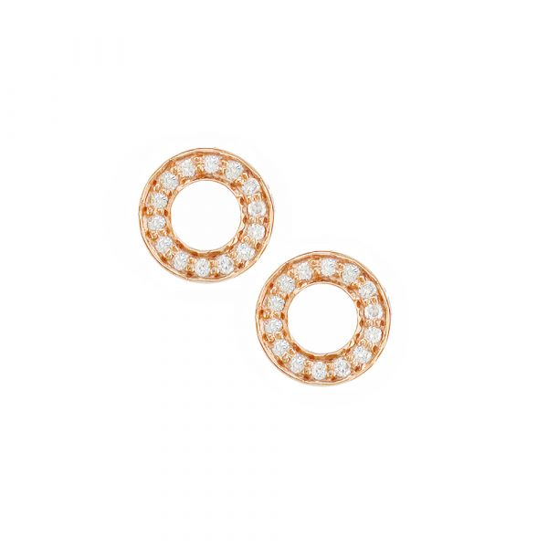 Rose gold diamond Meridian stud earrings