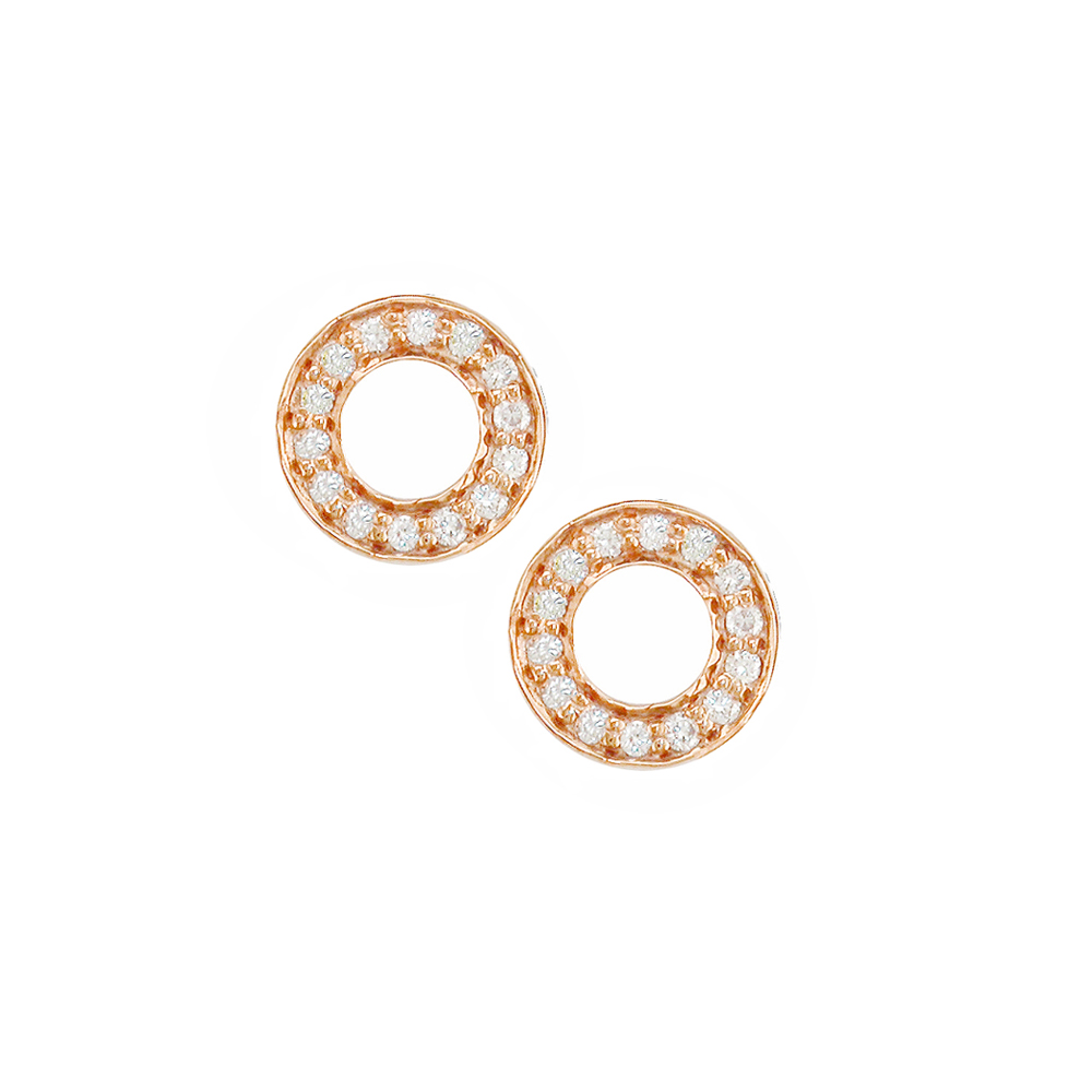 Stunning Rose Gold Diamond Circle Meridian Earrings