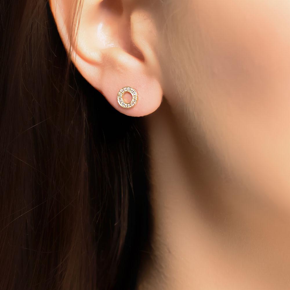 Yellow gold diamond Meridian stud earrings