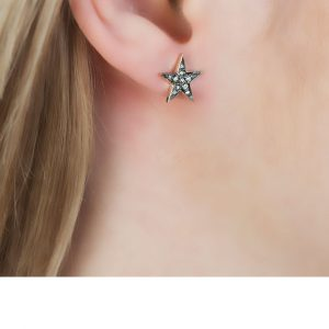 Yellow Gold Rose Cut Diamond Star Starry Night Earrings