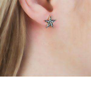 Yellow Gold Rose Cut Diamond Star Starry Night Earrings
