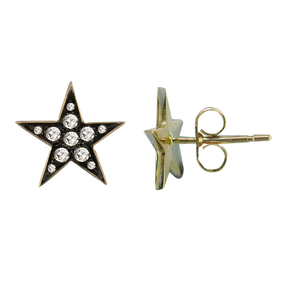 654c5fc70b0fb Exclusive Yellow Gold Rose Cut Diamond Star Earrings
