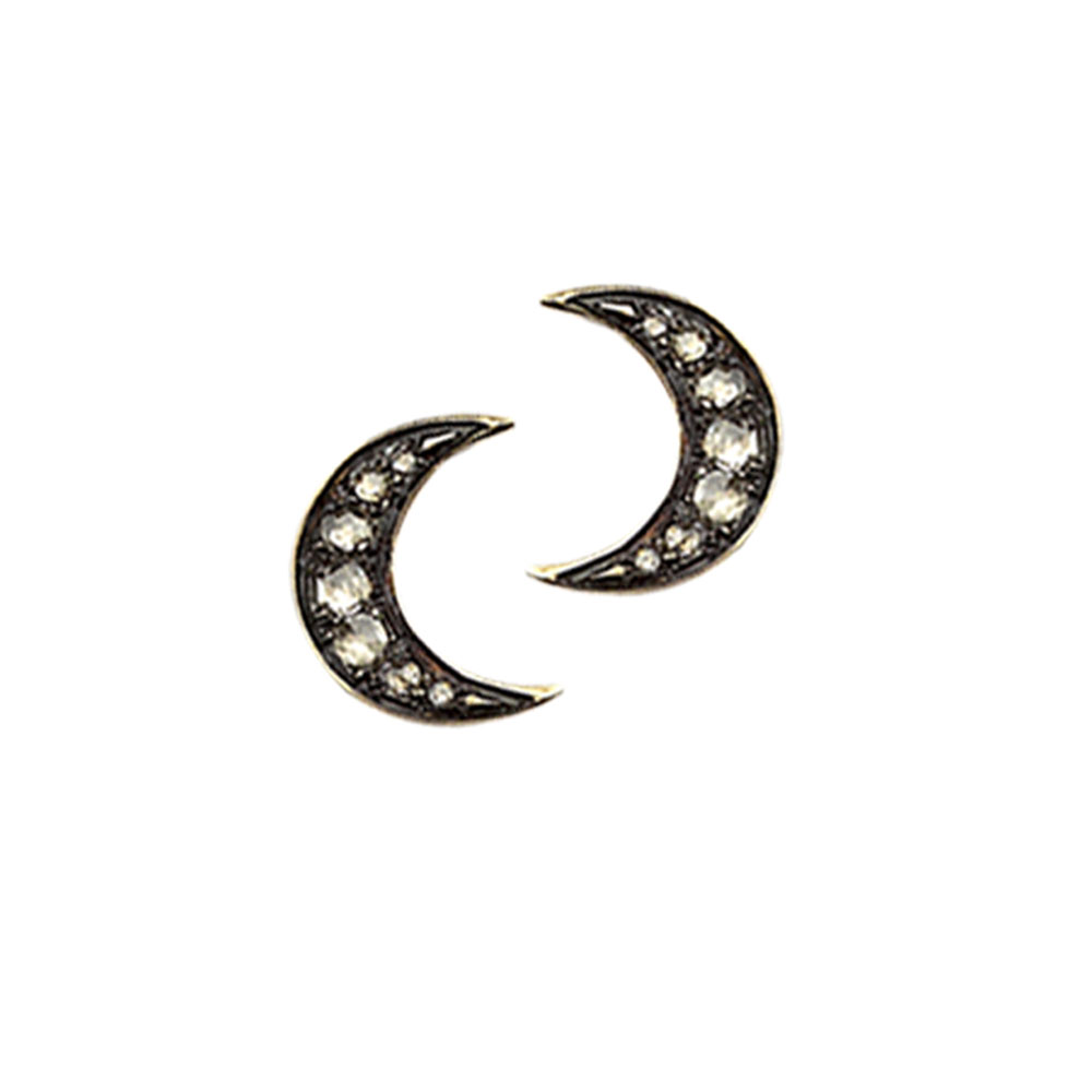 Diamond moon stud earrings yellow gold