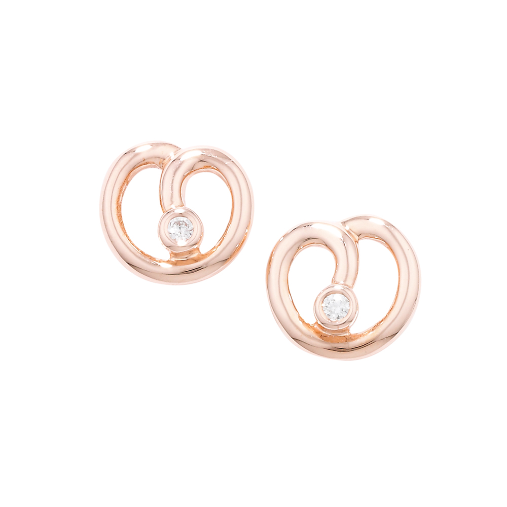 Designer Rose Gold Diamond Spiral Stud Earrings