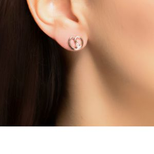 Rose gold diamond stud spiral earrings