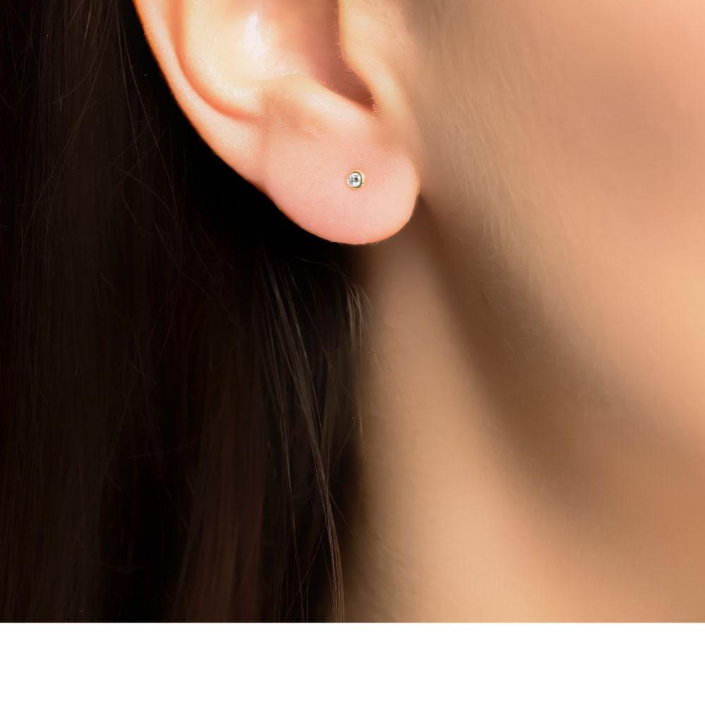 Yellow Gold Raindrop Diamond Stud Earrings