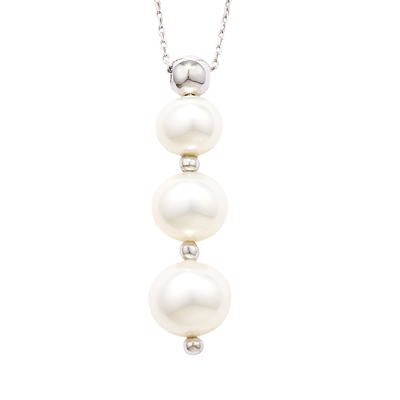Cultured freshwater pearl pendant white gold