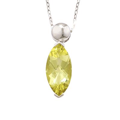 Lemon quartz marquise pendant white gold