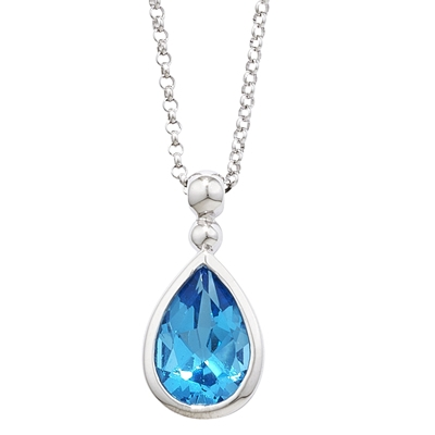 Exclusive White Gold Pearshape Blue Topaz Bead Pendant Necklace