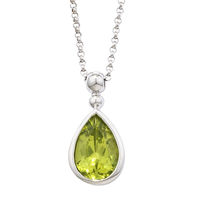 Modern White Gold Pearshape Peridot Bead Pendant Necklace