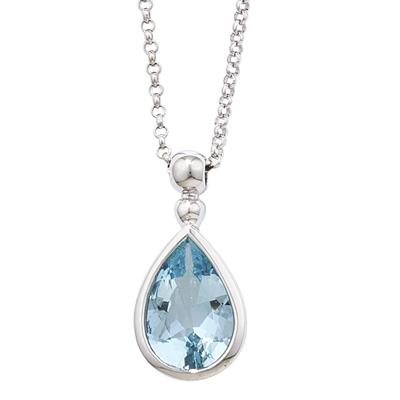 Classic White Gold Pearshape Aquamarine Bead Pendant Necklace