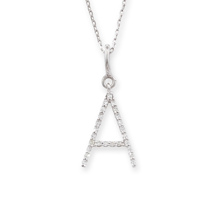 Diamond initial A pendant white gold