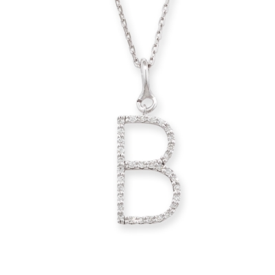Diamond initial B pendant white gold