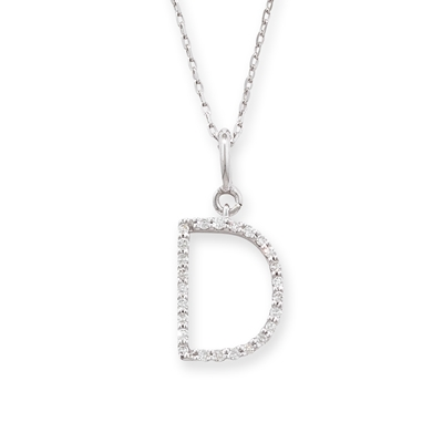 Diamond initial D pendant white gold