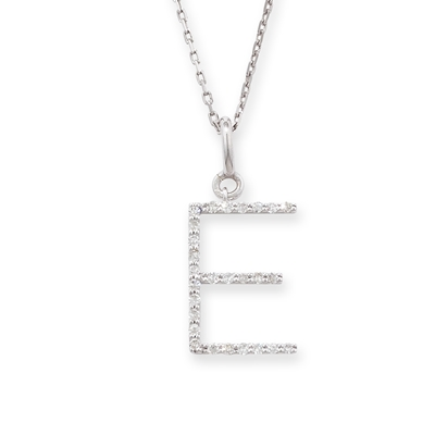 Diamond initial E pendant white gold
