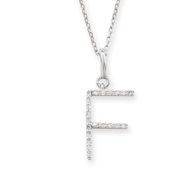 Diamond initial F pendant white gold