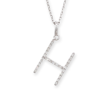 Diamond initial H pendant white gold