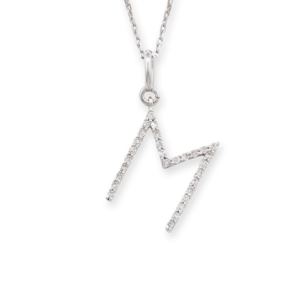 Diamond initial M pendant white gold