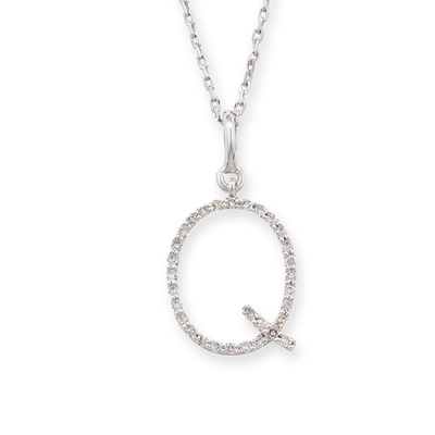 Diamond initial Q pendant white gold