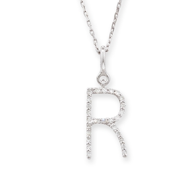 Diamond initial R pendant white gold