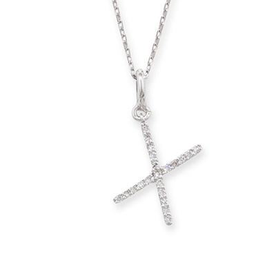 Diamond initial X pendant white gold