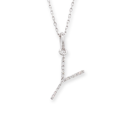 Diamond initial Y pendant white gold