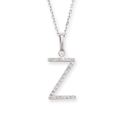 Diamond initial Z pendant white gold