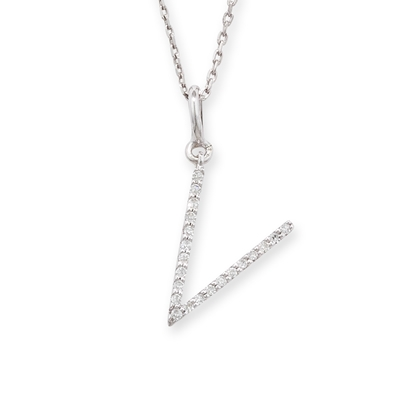 Diamond initial V pendant white gold