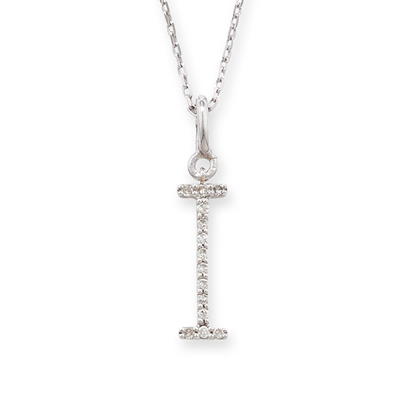 Diamond initial I pendant white gold