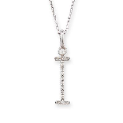 Elegant White Gold Letter I Diamond Pendant