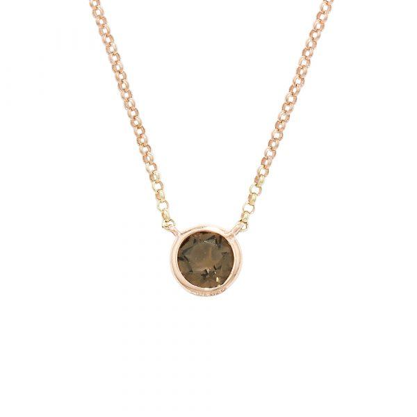 Smoky quartz single stone pendant rose gold