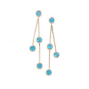 Blue topaz drop earrings rose gold