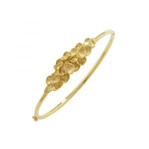 Falling leaf bangle yellow gold