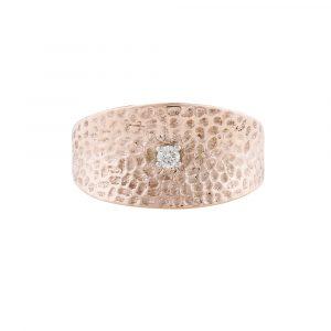 Diamond hammered cuff ring rose gold
