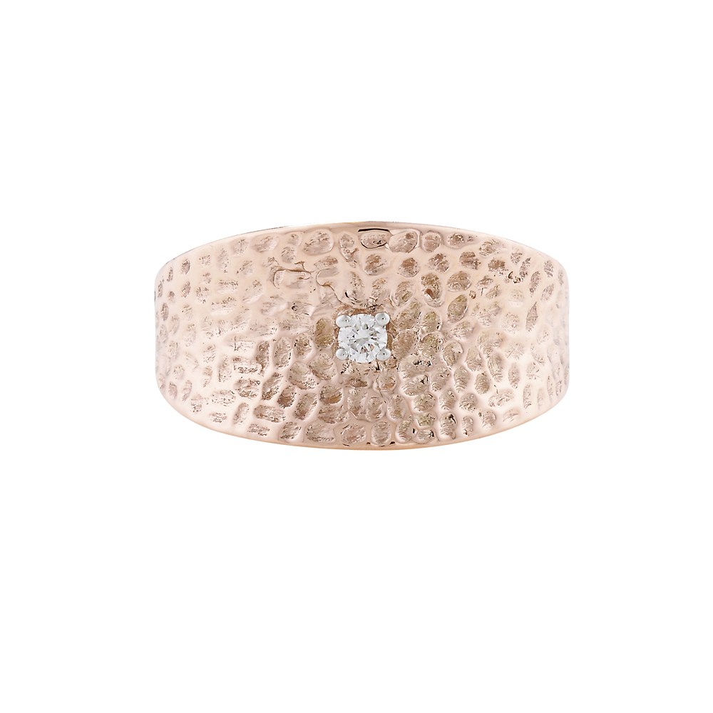 Diamond hammered cuff ring rose gold