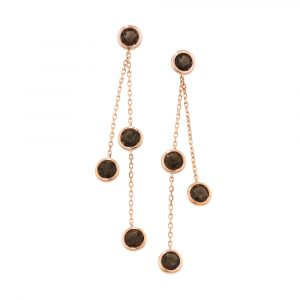 Smoky quartz drop earrings rose gold