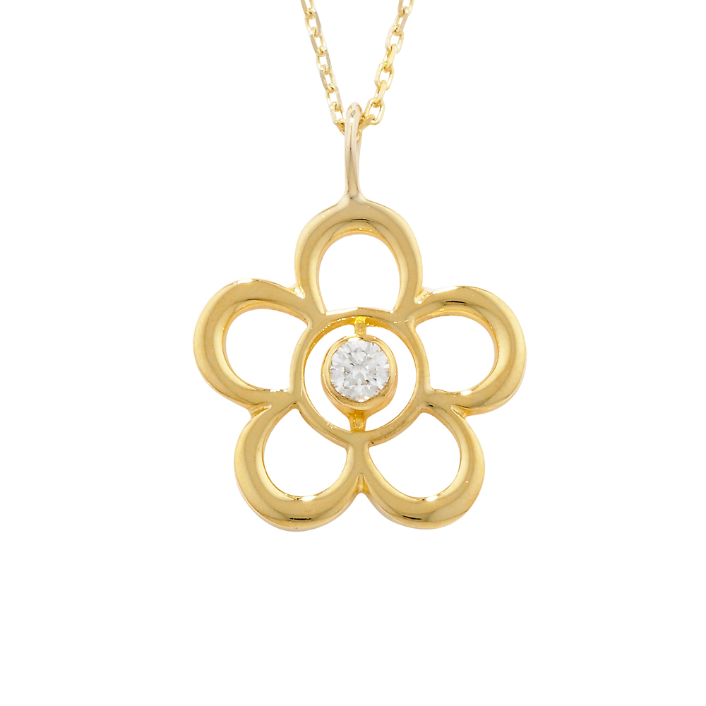 Exclusive Yellow Gold Diamond Blossom April Birthstone Pendant