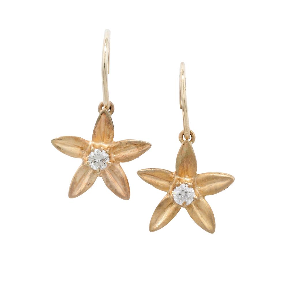 Diamond starflower drop earrings yellow gold
