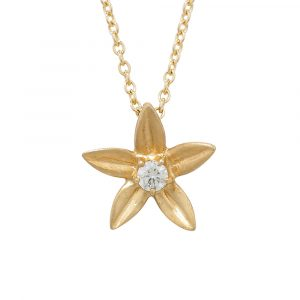 Diamond starflower pendant yellow gold
