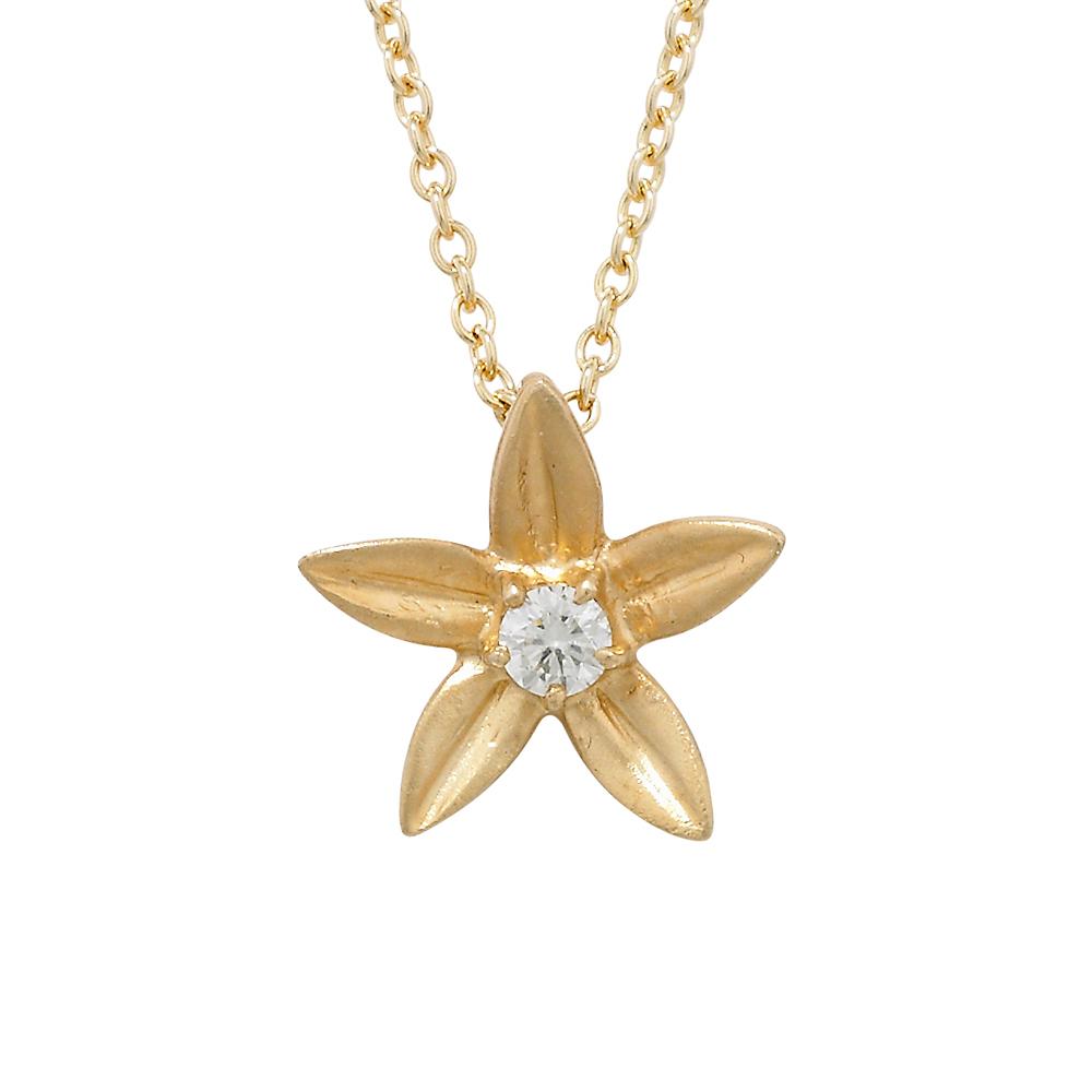Diamond starflower pendant yellow gold