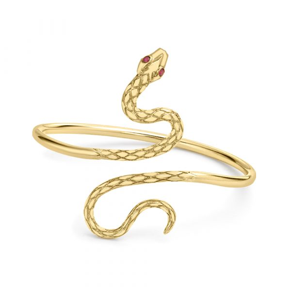 Ruby serpent snake bangle yellow gold