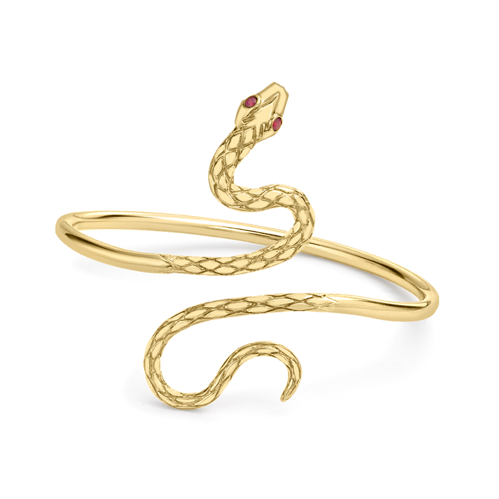 Exclusive Yellow Gold and Ruby Kew Snake Bangle
