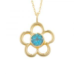 Blue topaz birthstone flower pendant yellow gold