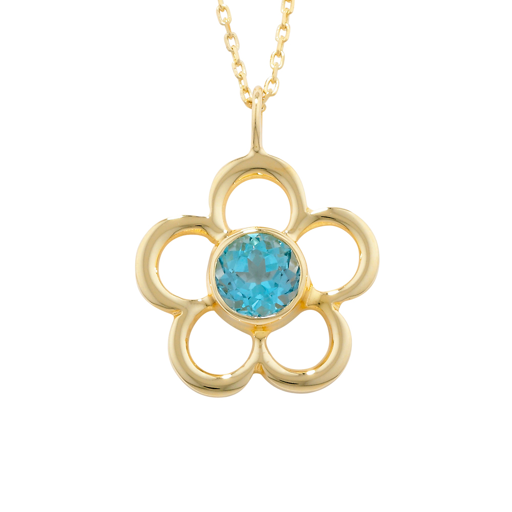 Blue topaz birthstone flower pendant yellow gold