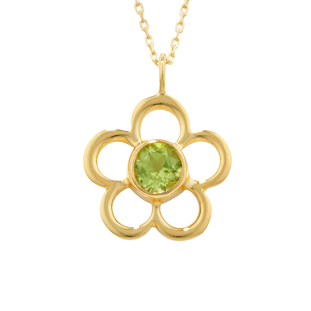 Fine Yellow Gold Peridot Blossom August Birthstone Pendant Necklace